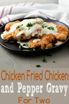 Chicken Fried Chicken and Gravy has juicy, tender, seasoned crispy oven baked breaded chicken smothered in white southern style milk and pepper gravy. This small batch comfort food recipe serves 2 and makes a great lunch or date night dinner. Small Meals, Meals For Two, Dinner For 2, Dinner Ideas, Chicken Dinner For Two, Milanesa, Oven Baked Breaded Chicken, Chicken Fried Chicken, Chicken Curry