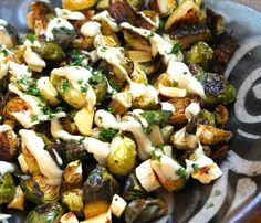 Roasted Brussels Sprouts with Lemon Tahini Sauce   crispy and caramelized. {gf, vegan}