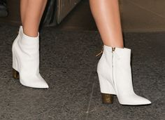 Katy Perry wears white Giuseppe Zanotti booties in NYC