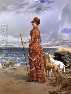 greyhounds in art. Beautiful painting.