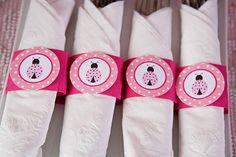 Napkin Rings - Silverware Wraps - Ladybug Theme - Ladybug Party Decorations in Hot & Light Pink (12) via Etsy