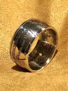 Handmade morgan silver dollar coin ring silver Men's ring anniversary gift Silver Dollar Coin, Morgan Silver Dollar, Mens Silver Rings, Silver Man, Mens Rings Etsy, Coin Ring, Skull Jewelry, Antique Rings, Wedding Bands