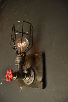 Steampunk fixture wood fixture Industrial by UnionHilIronWorks