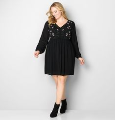 Floral Embroidered Babydoll Dress-Plus Size Dress-Avenue