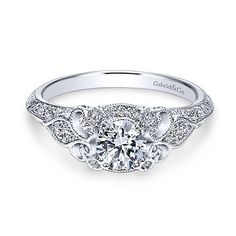 Halsey 14k White Gold Round Halo Engagement Ring