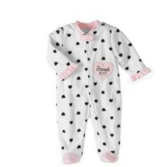 Bon Bebe Newborn Baby Girl Footed Microfleece Blanket Sleeper Pajamas, Size: 0 - 3 Months, White