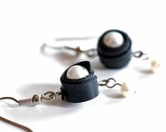 Bicycle inner tube pearl wrapped earrings,  handmade by livelyleafdesigns on etsy.