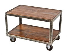 reconfigured vintage american industrial all-welded joint angled steel two tier mobile coffee table or cart with newly added pine wood shelves