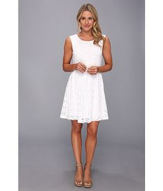 Nally & Millie Lined Lace Tank Dress White - 6pm.com