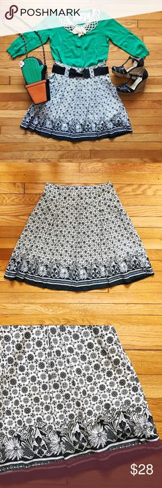 """HP 3/29 🖤 Monochrome Maven Midi Skirt Off-white & black geometric and floral designs make this a-line skirt simultaneously a neutral piece to accessorize, and a bold statement staple for your closet. Really sad to sell this beauty!  • Belt in cover photo not included. • Side pockets, fully lined, back zipper, EUC. • No stretch. • Tagged as size 5/6. 15"""" flat waist, 21"""" length. • 100% cotton 