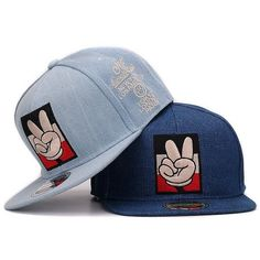 32451dabd8c Jeans Snapback Mickey Victory Fingers Embroidery Hat