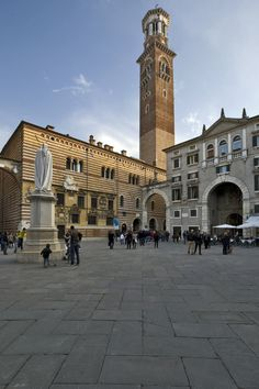 Piazza dei Signori - Verona, Veneto, Italy  Dante watches over the piazza.  Climb the tower