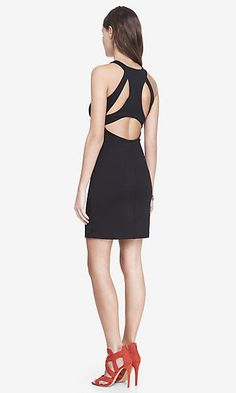 CUT-OUT RACERBACK SCUBA KNIT SHEATH DRESS