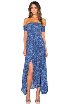 AUGUSTE Boheme Goddess Maxi Dress in Navy Tiny Floral | REVOLVE