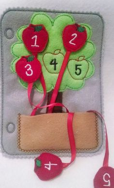 Felt quiet book page counting apple tree