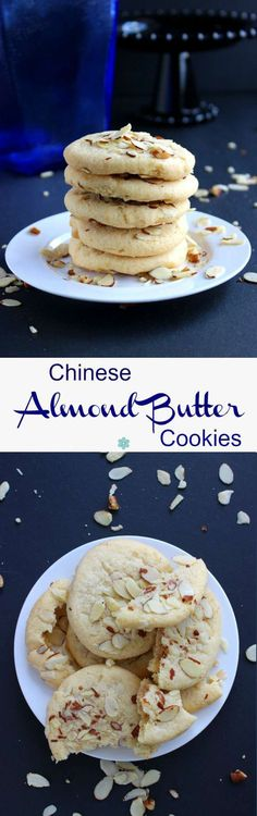 Chinese Almond Butter Cookies combine the best of two worlds. Two classics cookies that are softly crunchy and they will have you licking your lips. #outofthekitchen