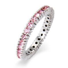 Pink October CZ Birthstone Stackable Ring, $36 #october