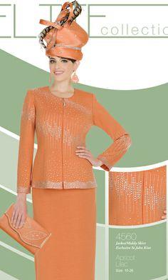 Elite Womens Suits Style:4560 Church Attire, Church Dresses, Church Outfits, Women Church Suits, Suits For Women, Teen Skirts, Dress Skirt, Dress Up, Orange Dress
