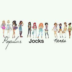 Popular: Aurora, Cinderella, Esmeralda, Jasmine. Jocks: Pocahontas, Ariel, Merida, Mulan. Nerds: Rapunzel, Snow White,  Belle, Tiana To clarify: I pinned this because I like the drawings. Not for the groupings.