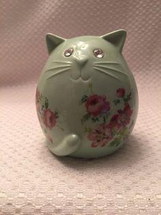 Vintage Porcelain CAT Piggy Bank GREEN with Floral Design Bling Eyes | eBay