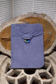 Mythical Beast Book (Mini notebook Blue leather with Rainbow  eye). $19.95, via Etsy.