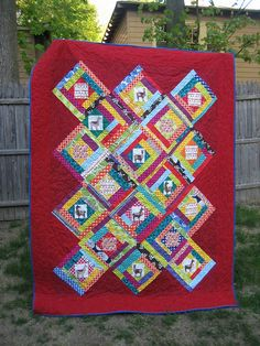 Llamas in Log Cabins by lucymade, via Flickr | Featuring Laurie Wisbrun Oh La Llama fabric
