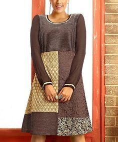 Vasundhara Fashions Black & Brown Embroidered Dress - Women by Vasundhara Fashions #zulily #zulilyfinds