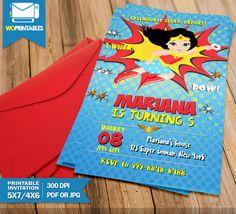Wonder Woman Invitations , Super Girl Invitations,Super Hero Invitations, Superhero Invitation For Girls, Superwoman