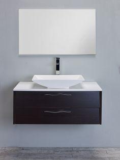 "Eviva Zenvi® 39"" Wenge (Dark Brown) Modern Bathroom Vanity Set with Overmount White Acrylic Sink"