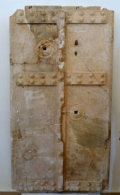 Door from the vaulted tomb under the 'Heroon' at Calydon, Papastrateio Archaeological Museum of Agrinio town, Etoloakarnania Prefecture, west Greece Ancient Beauty, Ancient History, Archaeology, Greece, Romani, Museum, Doors, Ministry, Death