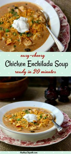 As the weather changes and cools down I look for cozy dinner ideas like this easy, cheesy chicken enchilada soup recipe. Creamy comfort food in 20 minutes. From RestlessChipotle.com via @Marye at Restless Chipotle