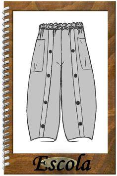 Das Basic-Teil für jeden Lagenlook-Fan!!! **Designer Schnittmuster Hose Escola** Eine weitere sehr angenehm weite Hose mit Schlupfbund. Riesige aufgesetzte (oder baumelnde) Taschen, die Form...
