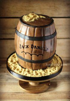 Jack Daniel's Barrel Cake for a groom's cake. Teacher Birthday Cake, Teacher Cakes, Birthday Cakes, Whiskey Barrel Cake, Whiskey Cake, Cake Cookies, Cupcake Cakes, Cupcakes, Elvis Cakes