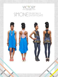 PRODUCT DESCRIPTION Level of Difficulty: Intermediate Simone is a semi-fitted style featuring a contrasting placket and tab detail in which pleats extend, creating fullness. A fitted neckline opens at