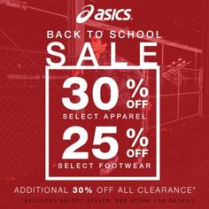 30% Off Select Apparel 25% Off Select Footwear Additional 30% Off All Clearance*