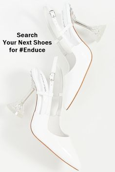 A sophisticated pair of statement slingbacks, these white/clear pumps combine a classic patent leather upper with a clear, sculpted stiletto heel for a bold, event-ready look. Suede Sandals, Suede Heels, Stiletto Heels, High Heels, Next Shoes, Women's Shoes, Unique Shoes, Slingbacks