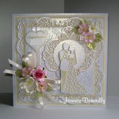 Wedding Day Card using dies from Creative Expressions / Sue Wilson, Frames &… Wedding Day Cards, Wedding Cards Handmade, Wedding Anniversary Cards, Tattered Lace Cards, Spellbinders Cards, Engagement Cards, Easel Cards, Scrapbook Cards, Scrapbooking