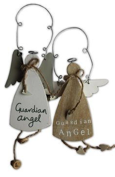 .cute little angels- cut from thin wood(or cardboard!) decorated and hung with wire