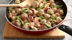 This simple skillet combines precooked meatballs, a frozen vegetable medley and seasoned cream cheese to create a delicious and flavorful weeknight meal.