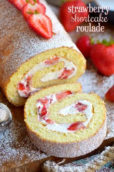 This Strawberry Shortcake Roulade (or cake roll) features a light and airy cake wrapped around a sweet whipped cream and fresh strawberry filling - divine!