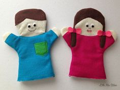DIY Boy and Girl Felt Hand Puppets - Little Miss Stitcher