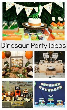 Selection of easy dinosaur party ideas to create a party that is a roaring success. With suggestions for food, decorations, games and activities, this party will be easy to plan and one that the kids will love. Dinosaur Themed Food, Dinosaur Party Games, Dinosaur Party Decorations, Food Decorations, Dinosaur Birthday, Food Themes, Diy Party, Party Ideas, Old Fashioned Games