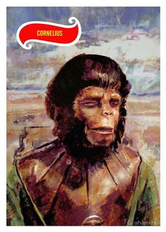 'Cornelius, Planet of The Apes trading card' by Graham Hill. Part of a small trading card set. Turner Classic Movies, Classic Films, Plant Of The Apes, Linda Harrison, Sci Fi Horror, Cartoon Tv, Primates, Trading Cards