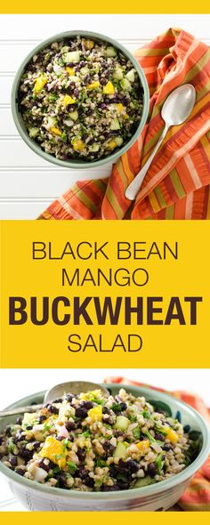 This vegan gluten-free black bean mango buckwheat salad recipe makes a great lunch or side dish. The zesty lime dressing is easy and extra tasty! Vegan Gluten Free, Gluten Free Recipes, Vegetarian Recipes, Healthy Recipes, Vegan Soups, Vegan Meals, Buckwheat Salad, Buckwheat Recipes, Healthy Salads