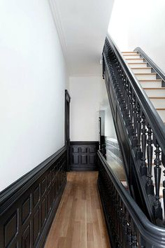 4 Mind Blowing Cool Tips: Wainscoting Mudroom Woodwork wainscoting ideas bathroom.Wainscoting Styles Benjamin Moore wainscoting staircase entry ways.Wainscoting Staircase Entry Ways. Architecture Details, Interior Architecture, Interior And Exterior, Interior Design, Black Trim Interior, Exterior Doors, Deco Design, Stairways, Apartment Therapy