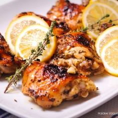 Chicken marinated in lemon, garlic, thyme, basic and other spices.