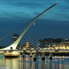 Harp-shaped bridge in the Dublin City Centre