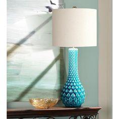 Nani Tex Diamond Pattern Blue Ceramic Table Lamp