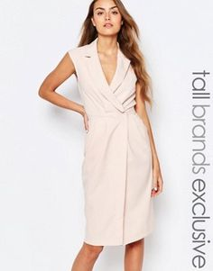 Alter Tall Wrap Front Sleeveless Dress With Lapels