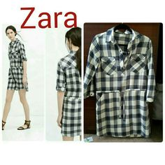 Zara Plaid Flannel Shirt Dress S Preowned but in very good condition completely sold out size small. Very versatile can be dressed up or down. All offers will be considered. Zara Dresses Mini